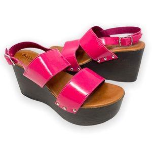 Baldinini Trend pink leather platform sandals, 39